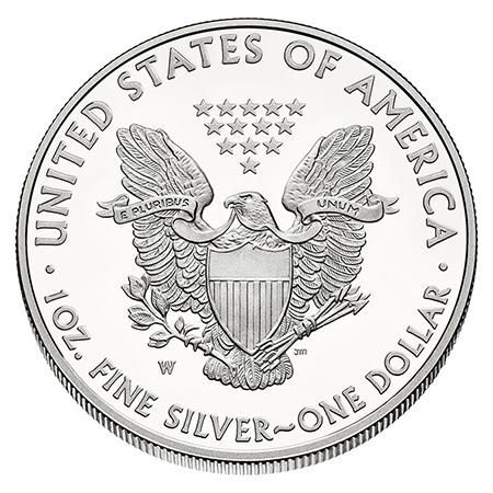 Pièce-Silver-Eagle-Argent-Revers